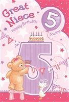 Great Niece 5th Birthday Card