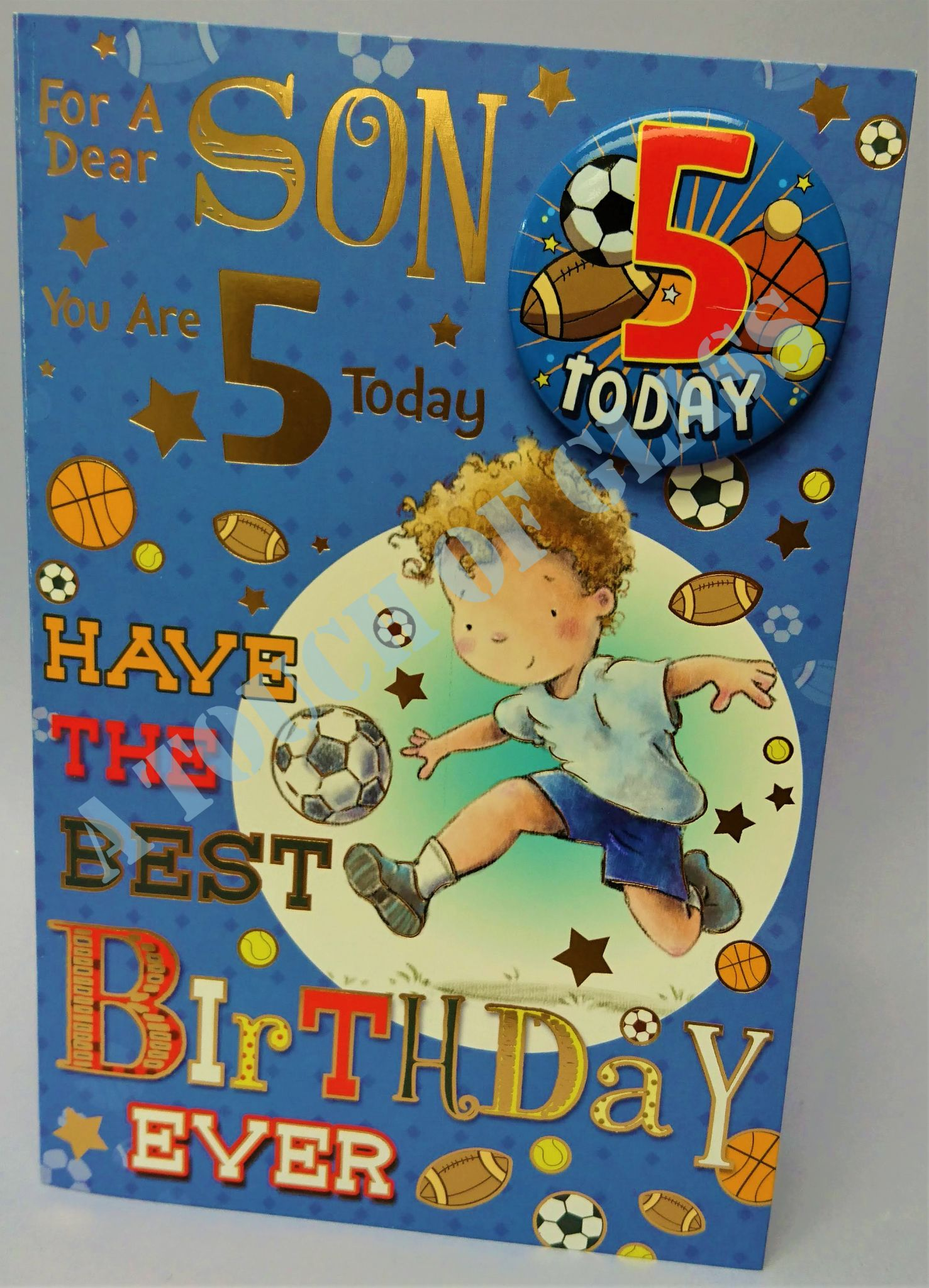 Pleasing Son 5Th Birthday Card Age Badge Card Candy Club Greetings Cards Personalised Birthday Cards Cominlily Jamesorg