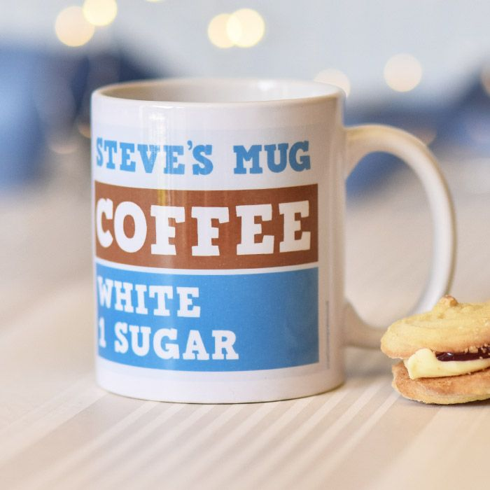 Coffee/Tea, White, 1 Sugar In Blue - Mug
