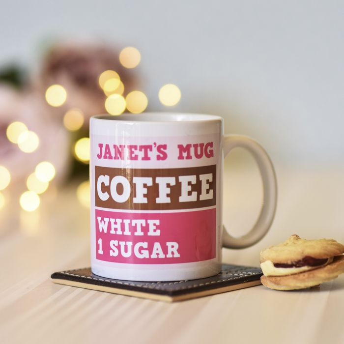 Coffee/Tea, White, 1 Sugar In Pink Mug