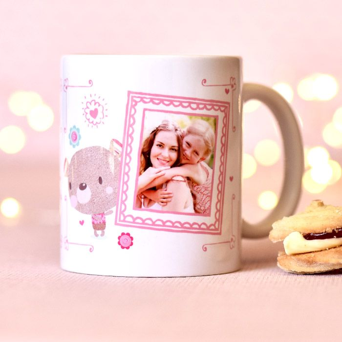 Cute Bobbin Valley Holding Photo Frame - Ceramic Mug - Personalised Gift