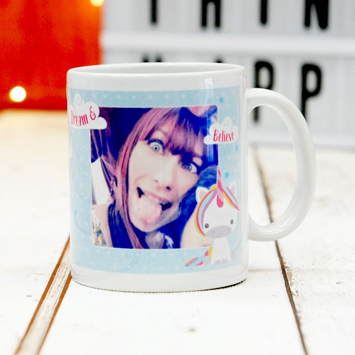 Dream Believe Unicorn Photo Upload - Ceramic Mug