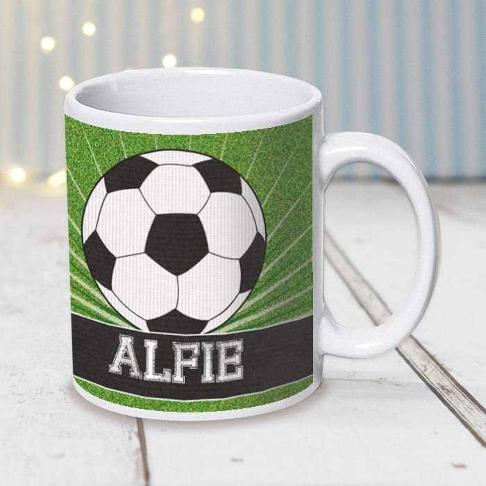 Football On Green Grass - Mug