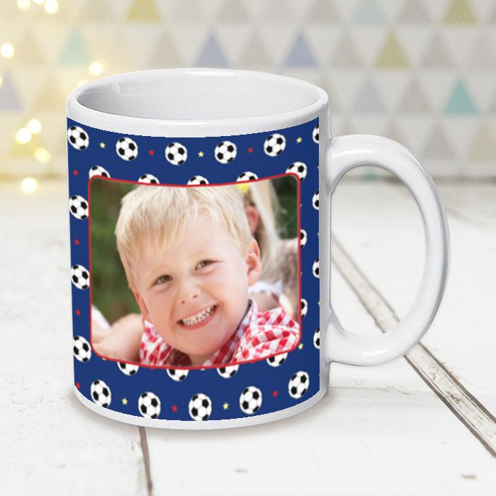 Football Pattern With Photo Upload - Mug
