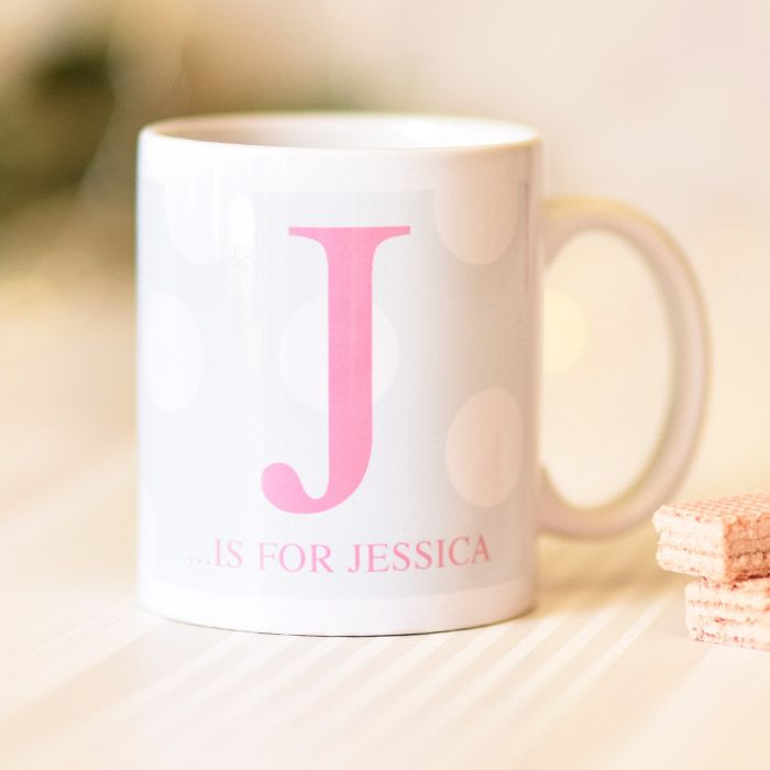Large Pink Initial On Spotty Background - Mug