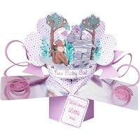 New Baby Girl Jungle Friends 3D Card