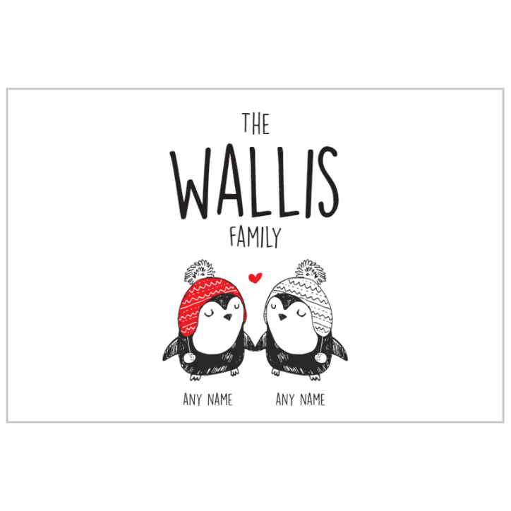 Penguin Family of 2 (Couple) Plaque