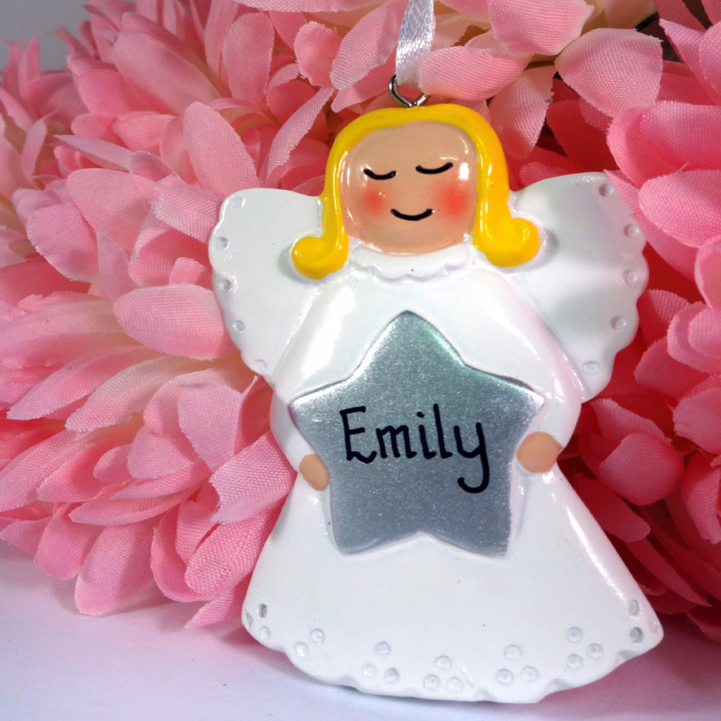 Angel with Gold Star & Halo | Personalised | Christmas Decorations