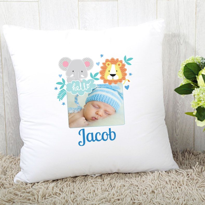 Personalised Boys Jungle Theme Photo Upload Cushion