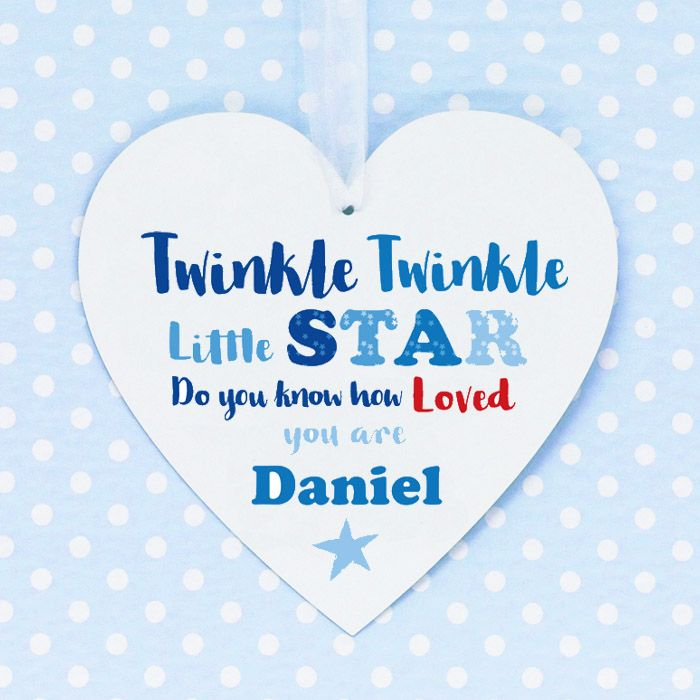 Personalised Boys 'Twinkle Twinkle' Hanging Heart