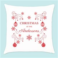 Personalised Christmas Snowflake & Bauble Cushion