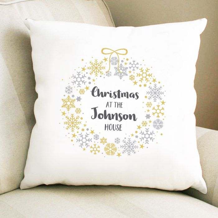 Personalised Christmas Wreath Cushion