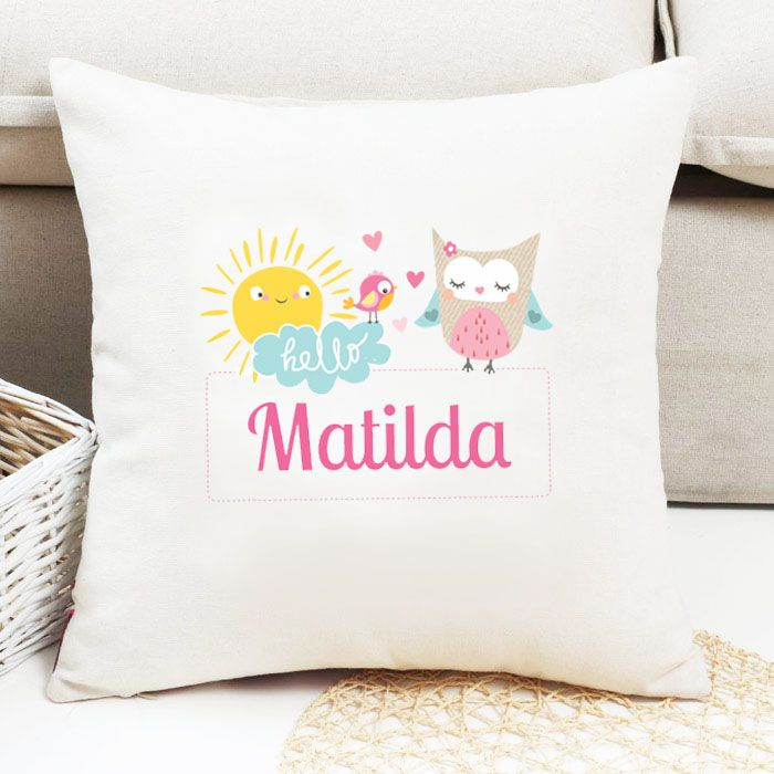 Personalised Girls Bird Theme Cushion