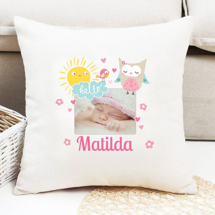 Personalised Girls Bird Theme Photo Cushion