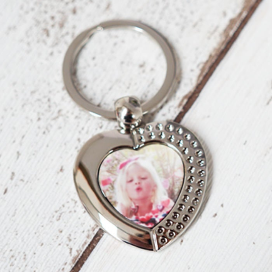 Personalised Heart Photo Upload Keyring