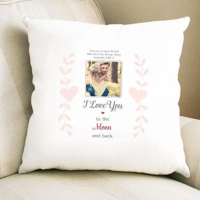 Personalised 'Moon And Back' Photo Cushion
