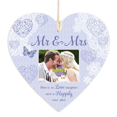 Personalised Mr & Mrs Photo Upload Hanging Heart