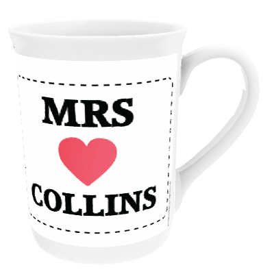 Personalised Mrs 'Surname' Heart Design China Cup