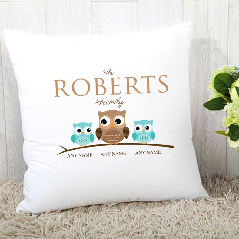 Personalised Owl Family Cushion