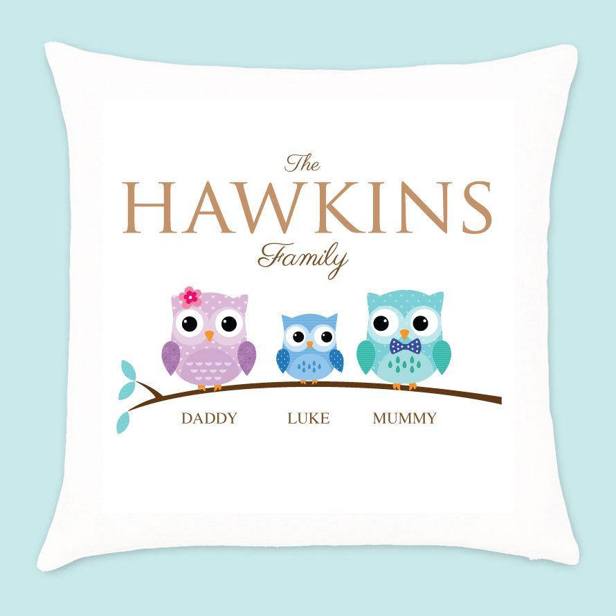 Personalised Owl Family of 3 Cushion -  1 Boy