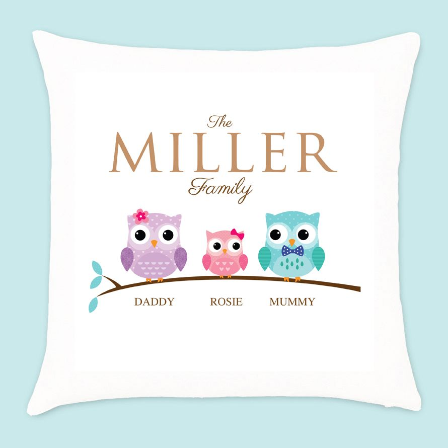 Personalised Owl Family of 3 Cushion - 1 Girl