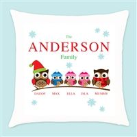 Personalised Owl Family of 5 - 1 Boy & 2 Girls Christmas Cushion