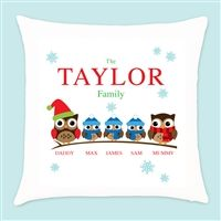 Personalised Owl Family of 5 Christmas Cushion