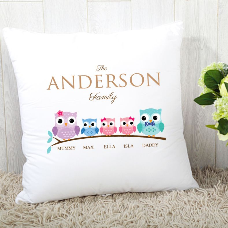 Personalised Owl Family of 5 Cushion - 1 Boy & 2 Girls