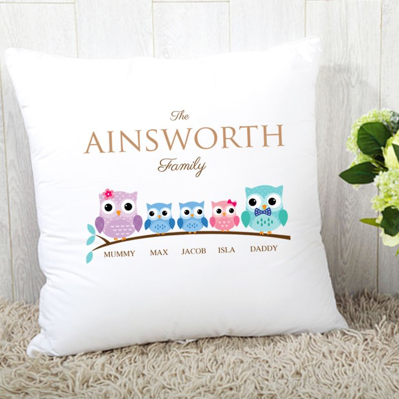 Personalised Owl Family of 5 Cushion - 2 Boys 1 Girl