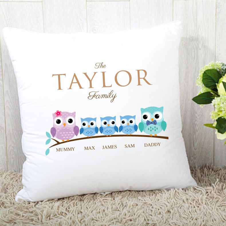Personalised Owl Family of 5 Cushion - 3 Boys