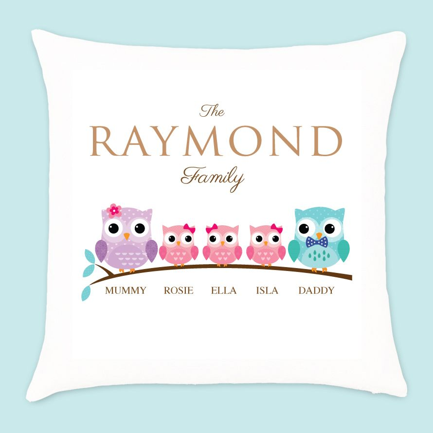 Personalised Owl Family of 5 Cushion - 3 Girls