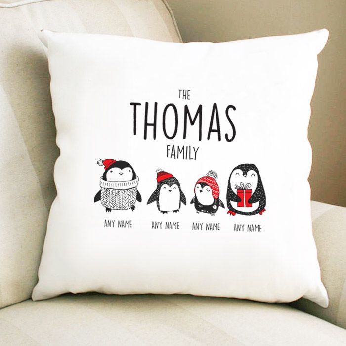 Personalised Penguin Family Cushion with 2 Parents 2 Children