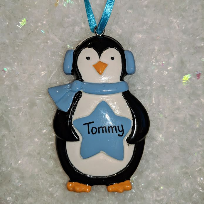 Personalised Penguin with Star Christmas Tree Decoration Blue