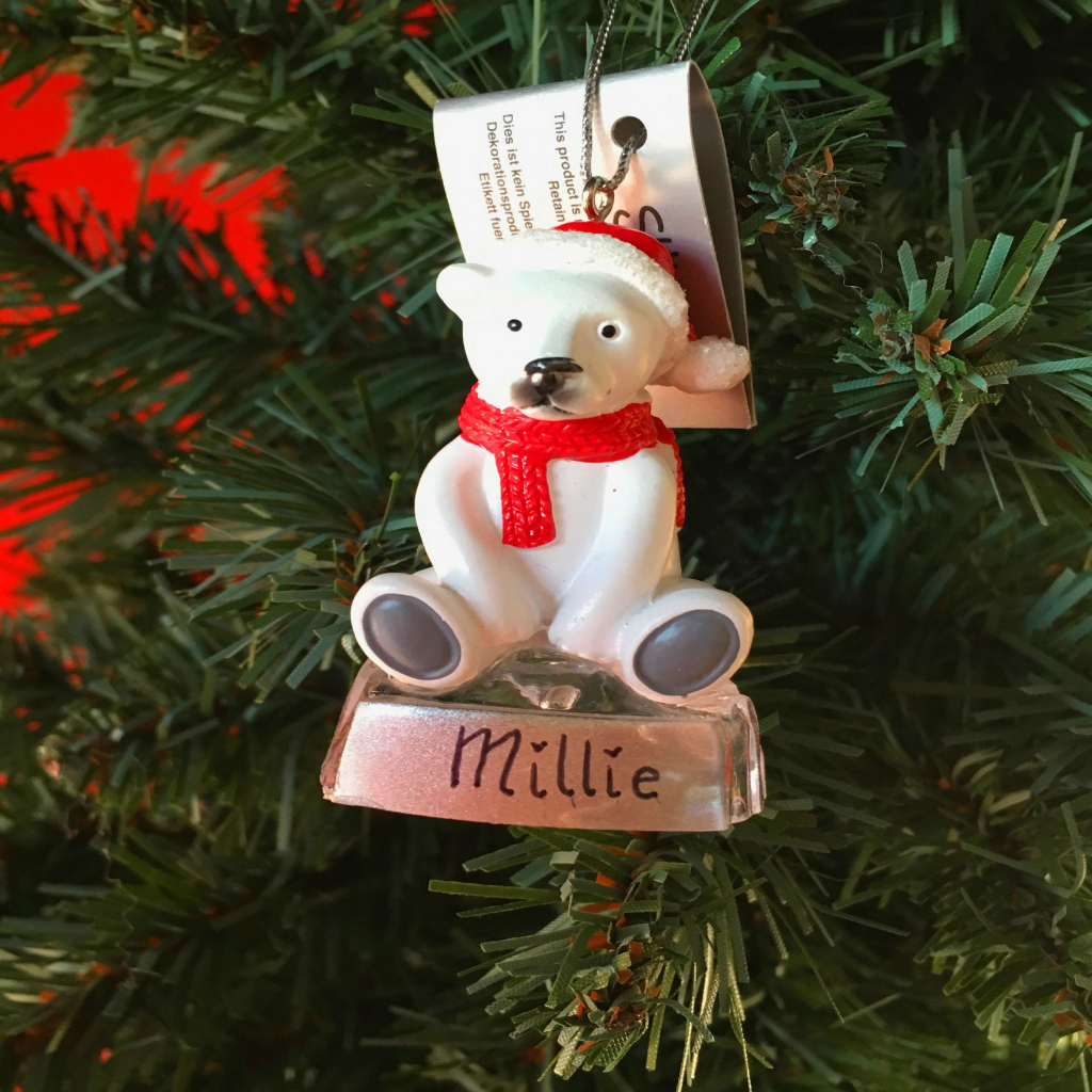 personalised polar bear christmas decorations suki tree decoration