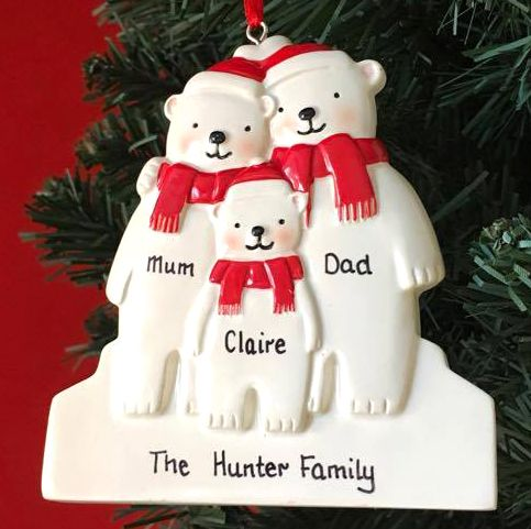 Personalised Polar Bear Family of 3
