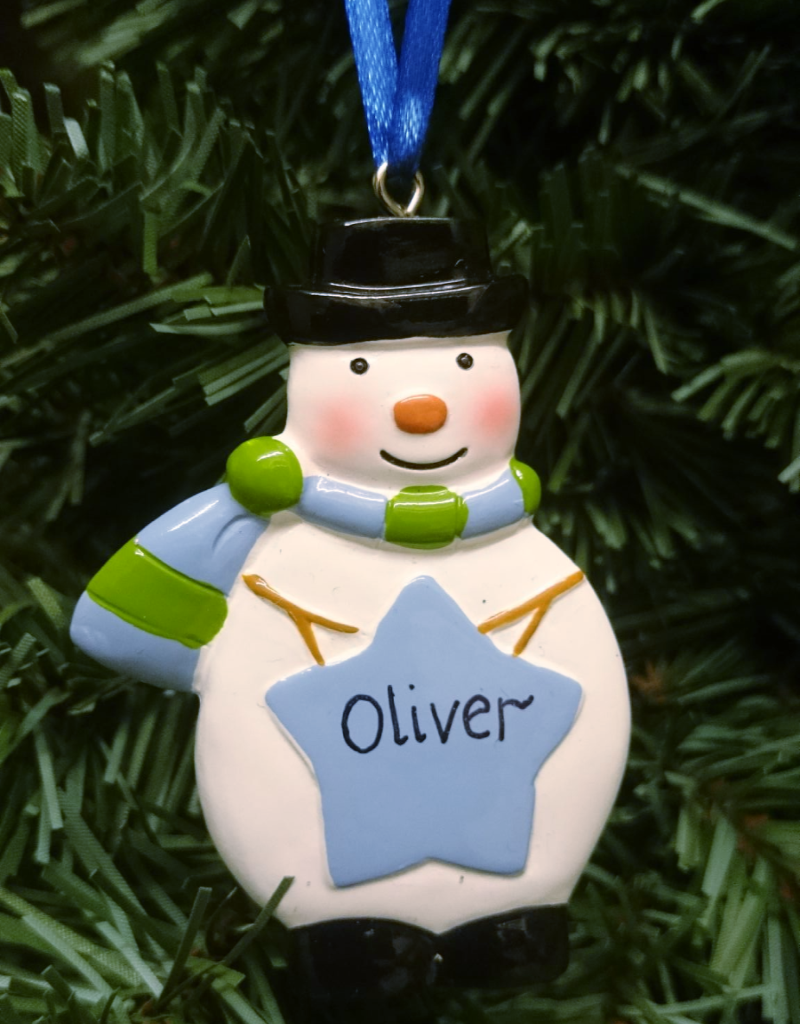 Blue Star Snowman Personalised Christmas Decorations