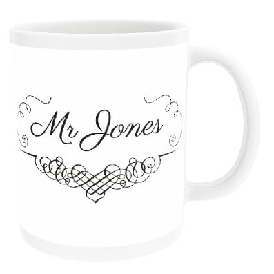 Personalised Swirl Design Mr 'Surname' China Cup