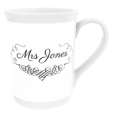 Personalised Swirl Design Mrs 'Surname' China Cup