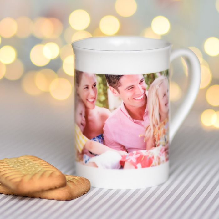 Photo Upload With Black Text Bone China Mug