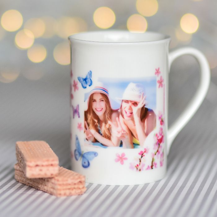 Pink Blossom And Butterflies With Photo Upload - Bone China Mug - Personalised Gift