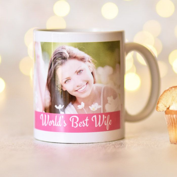 Pink Stripe White Text & 2 Photo Upload Mug