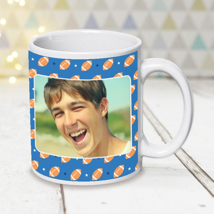 Rugby Pattern With Photo Upload - Mug